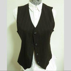 Sz M Brown/Pink Stripe Briggs WOMEN #18V Suit Vest